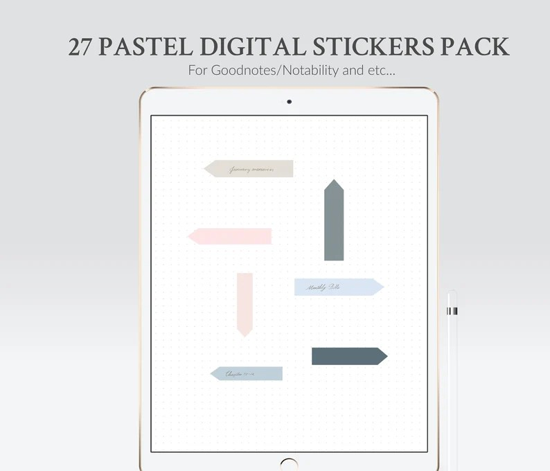 Goodnotes stickers in PNG - pastel header and note stickers