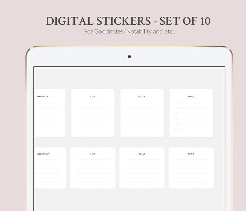 10 Digital Stickers Set Minimalistic Digital Notebook image 0