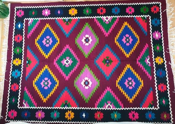 romanian rustic kilim from maramures wool rug geometrical design tapis kelim fait main teppich tappeto