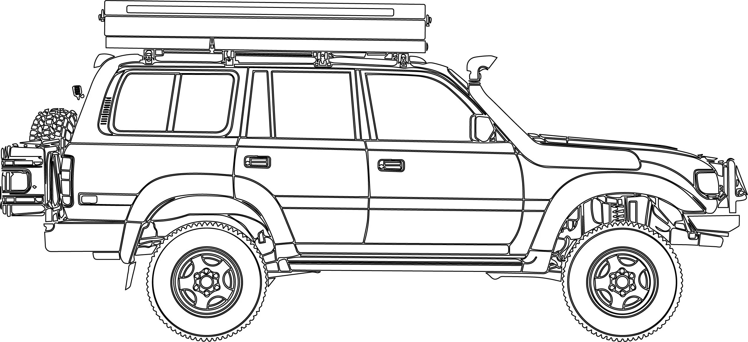 Toyota Land Cruiser 4x4 Overlanding Vehicle Dxf Ai Cnc Svg