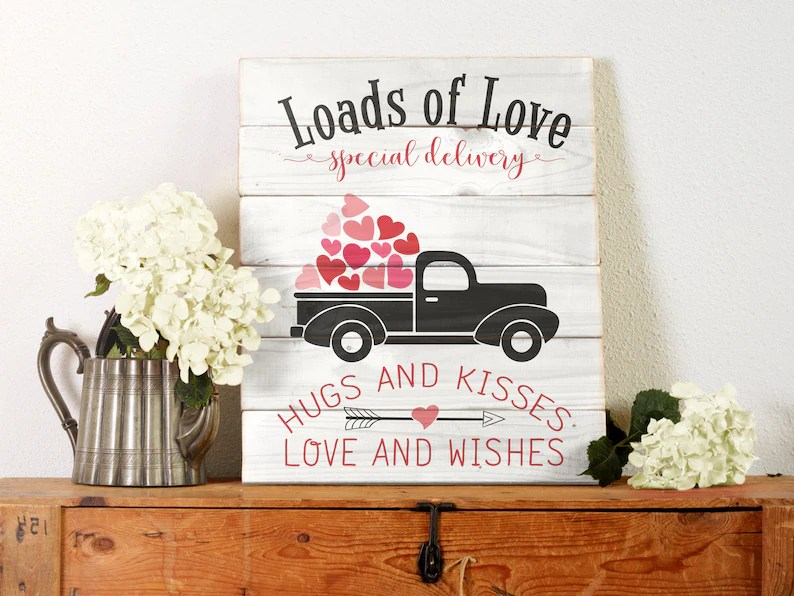 Download Valentine Loads of Love svg cut file. Valentine Truck ...