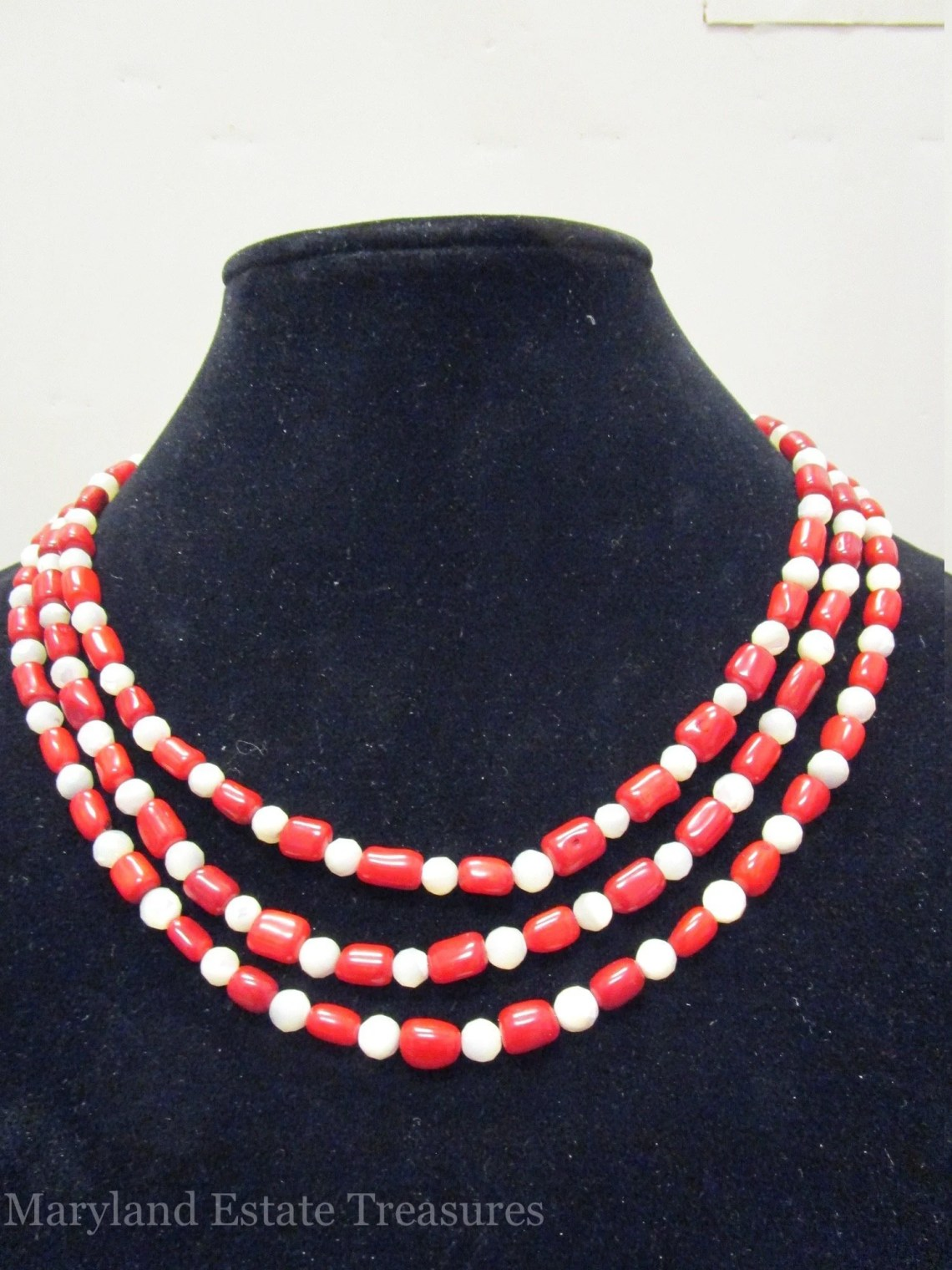 Multi Strand Mother of Pearl and Coral Necklace