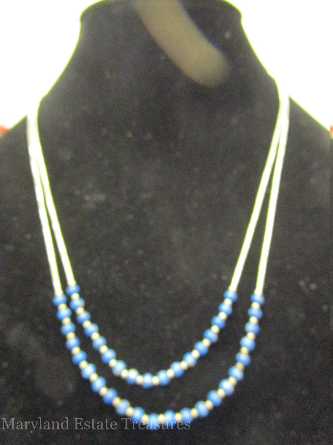 Multi Strand Sterling Silver and Lapis Lazuli Necklace