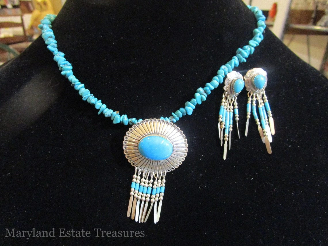 Quoc Turquoise Enhancer Necklace and Earrings