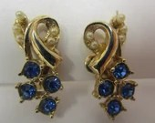 Vintage Blue Crystal Earrings