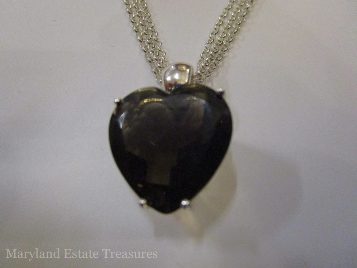 David Sigal Sterling and Smoky Topaz Heart Necklace