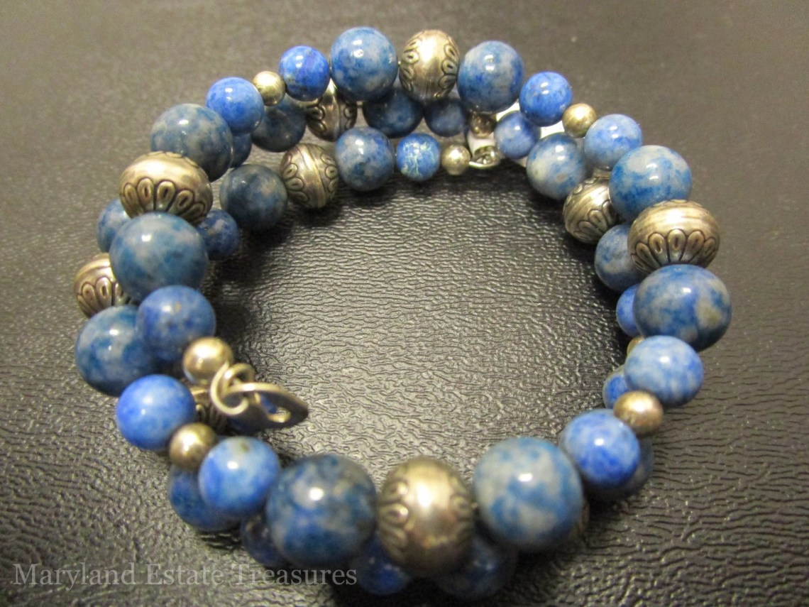 Carolyn Pollack Sterling Silver and Blue Lapis Lazuli Bead Coil Bracelet