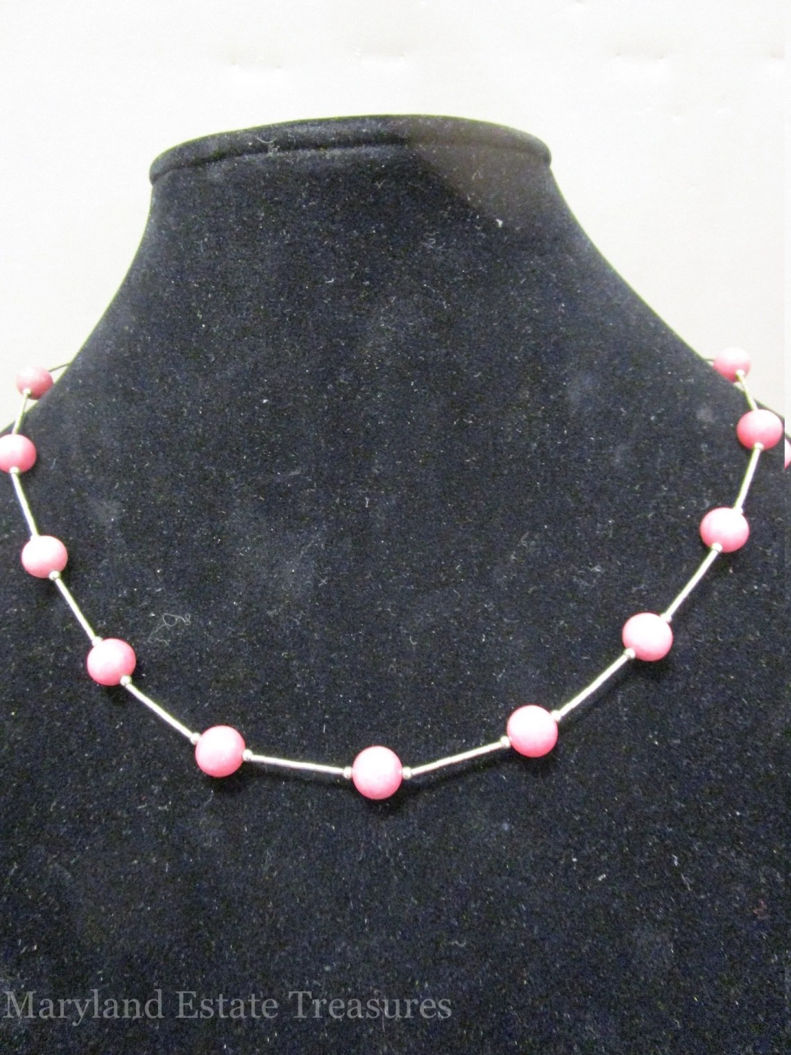 Kabana Liquid Sterling and Rhodonite Necklace