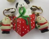 Vintage Christmas Earrings and Brooch