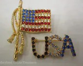 Patriotic Crystal Brooches