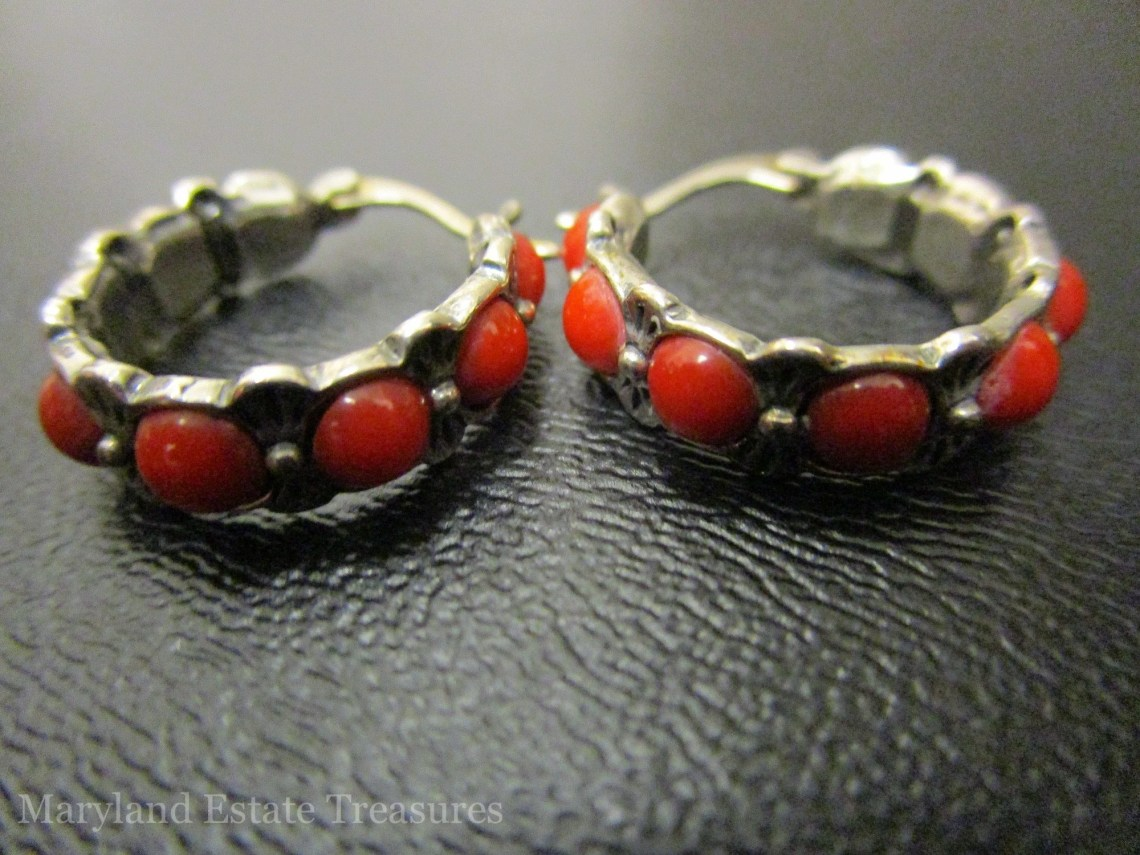 Sterling and Red Coral Earrings