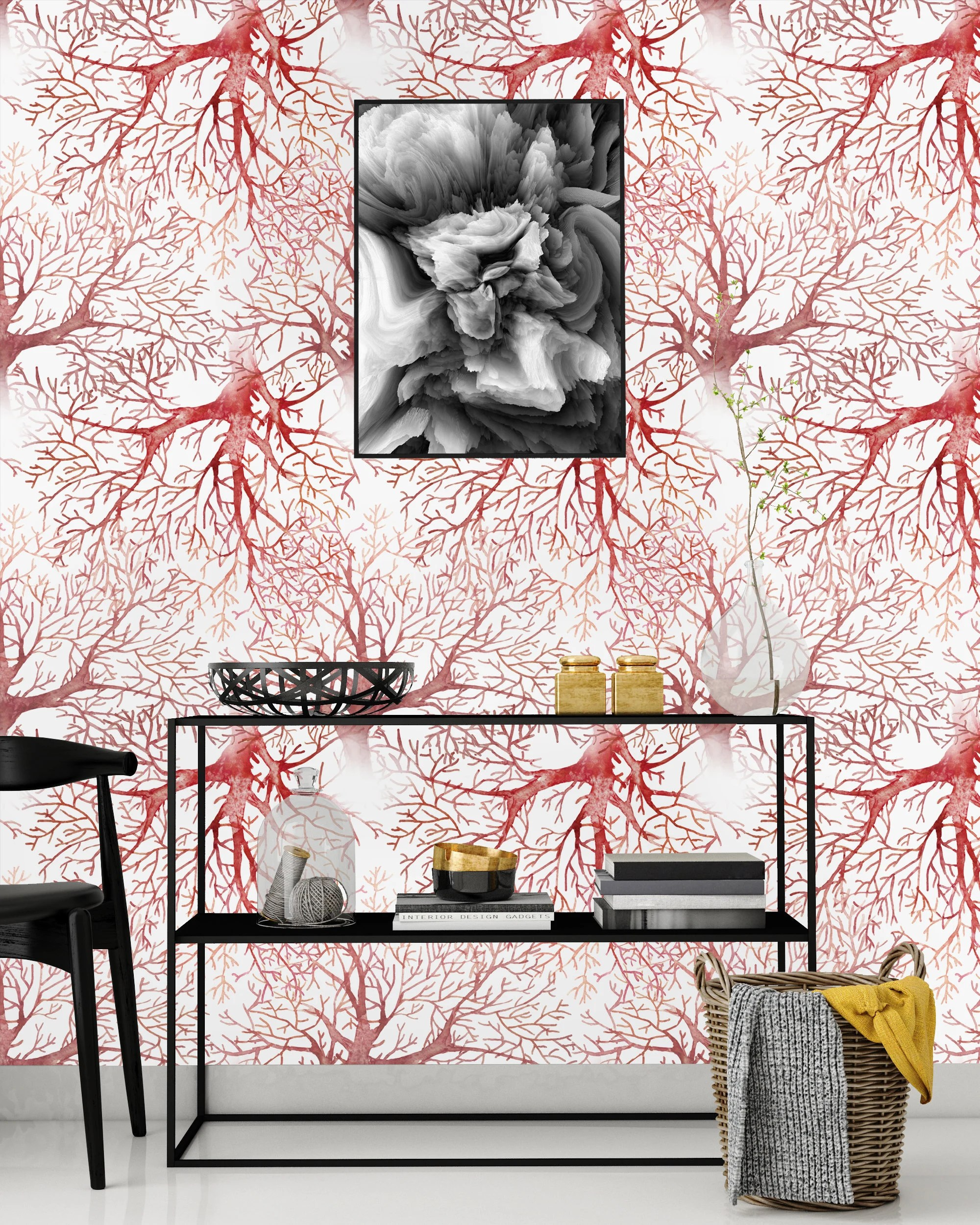 Nursery Decor Self Adhesive Wallpaper Peel Stick Mural Removable Wallpaper Coral Tree