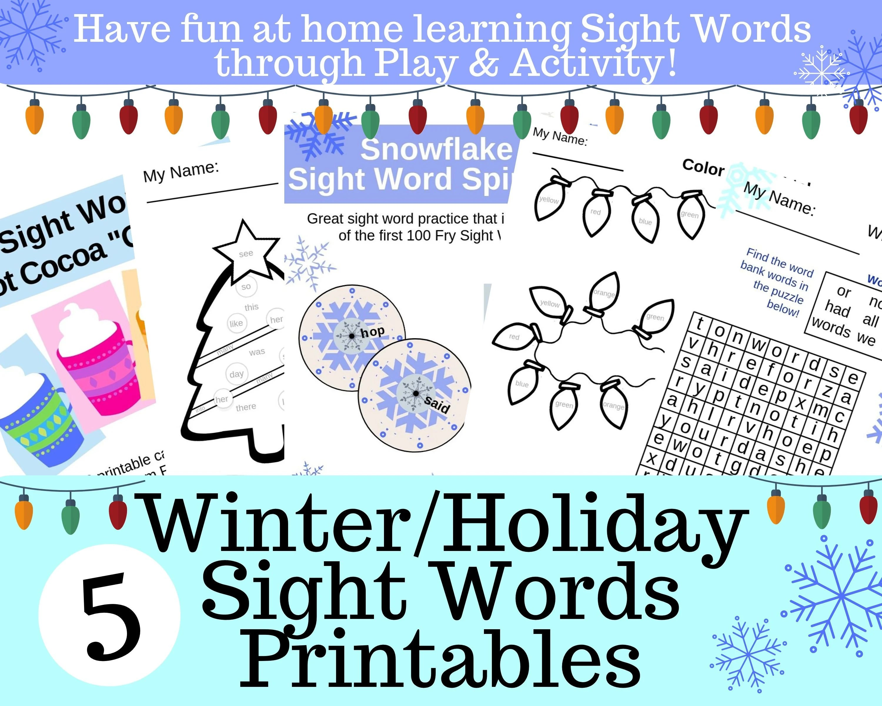 Winter Holiday Printable Sight Word Worksheets