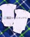 2 White Baby Bodysuits Mockup Short Sleeve Flatlay Infant Etsy
