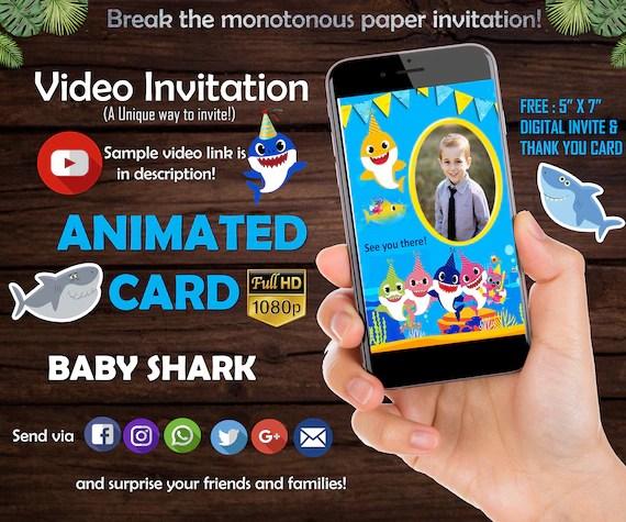Baby Shark Birthday Invitation Video Invitation Text Etsy