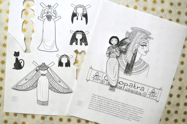 Cleopatra Coloring Page and Paper Doll