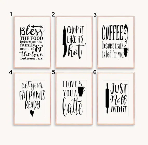 Funny Kitchen Quotes A5 A4 A3 Prints Kitchen Decor Etsy