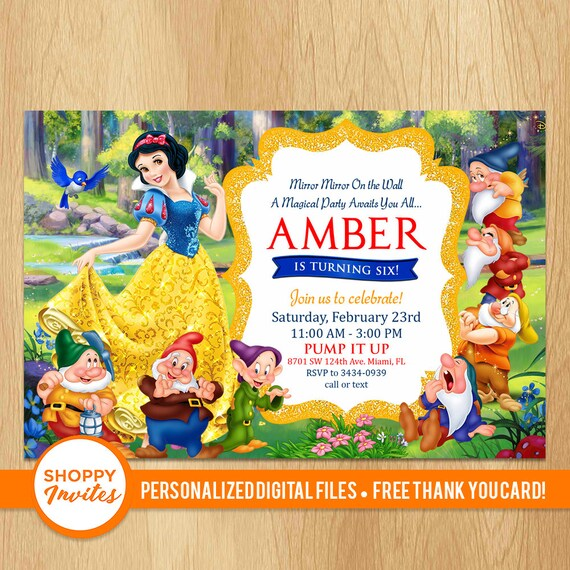 Disney Princess Snow White Birthday Party Invitations Personalised Greeting Cards Invitations Home Garden