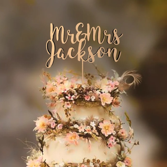 Rustic Mr and Mrs Wedding Cake Topper by Rawkrft  Custom Cake Natural Wood