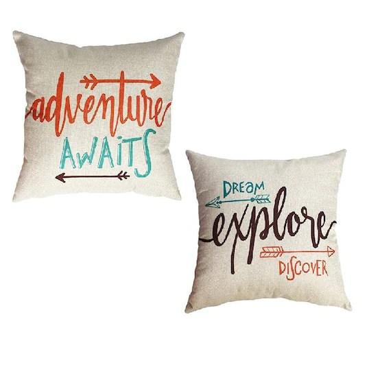adventure awaits pillow covers explore throw pillows boho decor boho pillows boho throw pillows adventure decor travel decor
