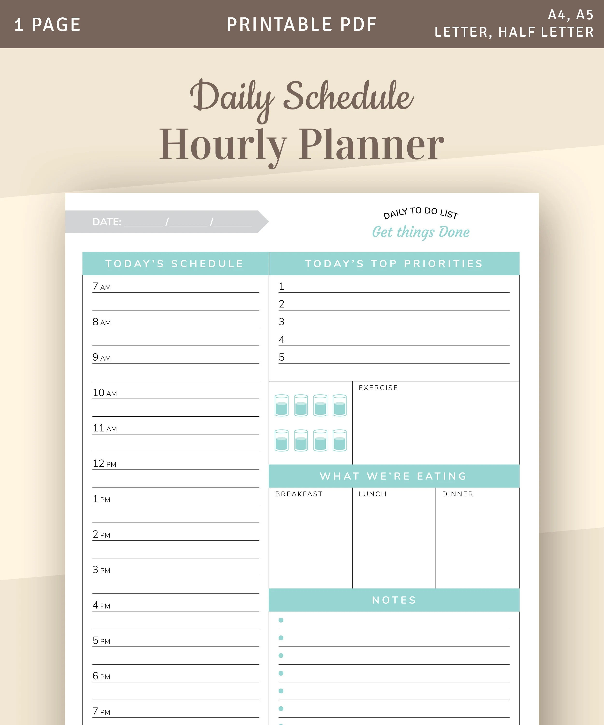 Daily Planner 2020 Daily Planner Printable Template With Top Daily Priorities Daily Schedule Hourly Planner Agenda Template Pdf