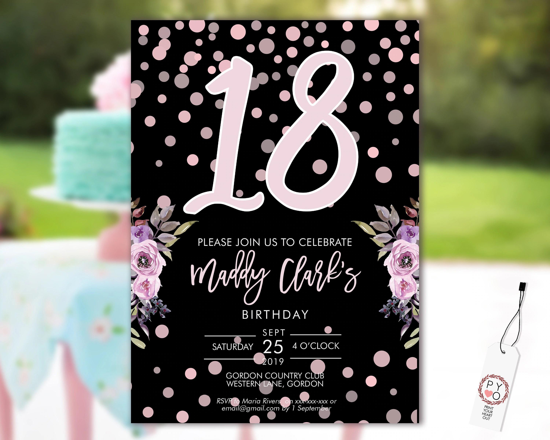 18th birthday confetti invitation