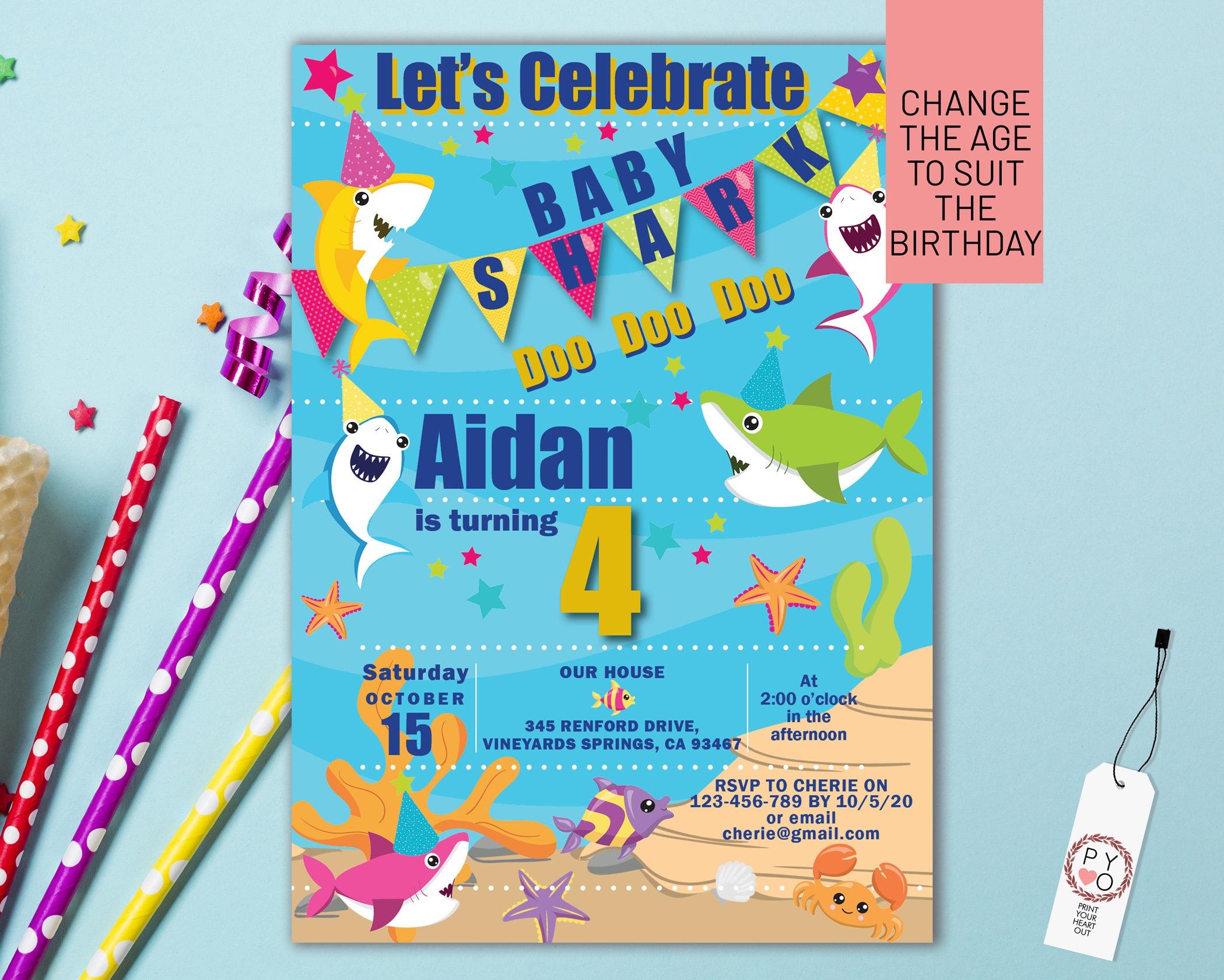 baby shark birthday invitation