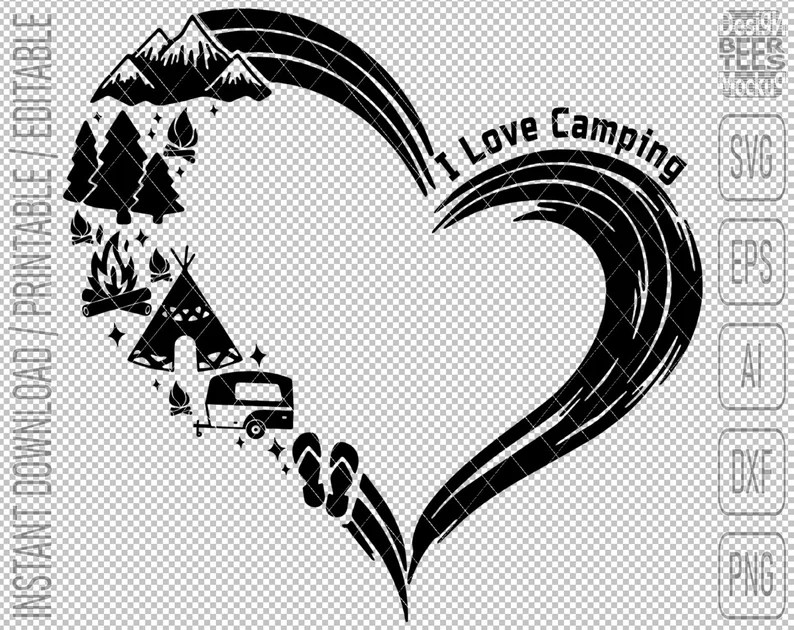 Download I Love Camping Mountain Travel Hiking SVG DXF PNG Cut ...