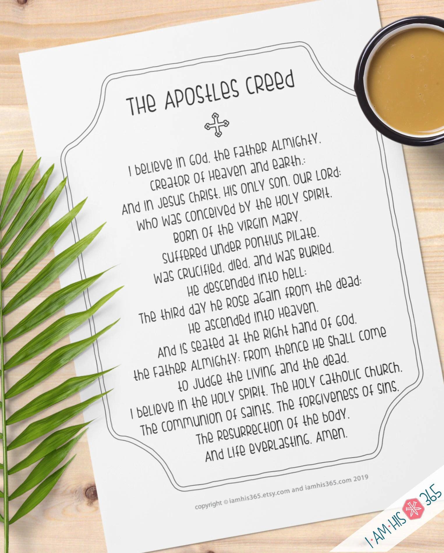 Apostles Creed Scripture Search Worksheet