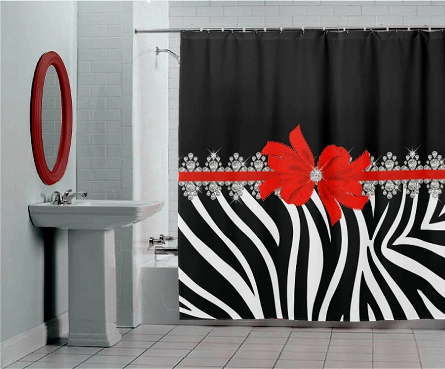 Diamond Delilah Red Bow With Black And White Zebra Stripes Shower Curtain Bath Mats Towels
