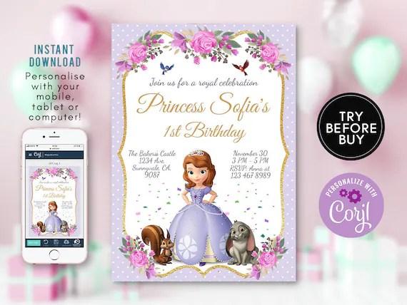 princess sofia birthday invitation sofia the first invite princess birthday invitation editable sofia first party instant download diy