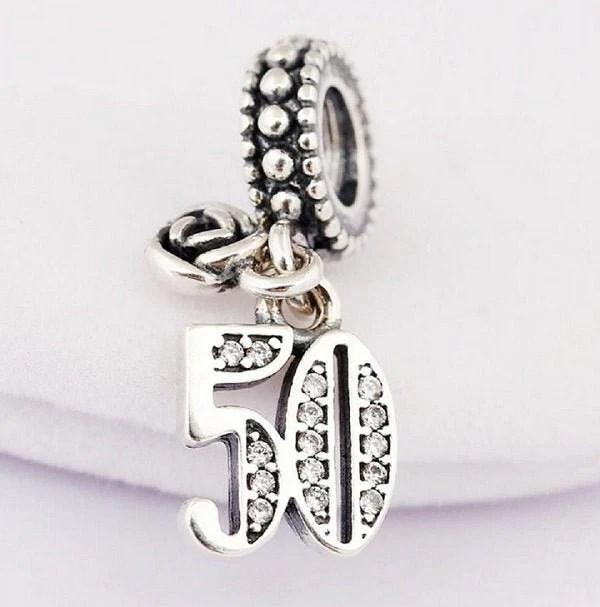 50th Birthday Celebration Time Genuine Sterling Silver 925 Charm With Cubic Zirconia Fits Pandora Bracelet