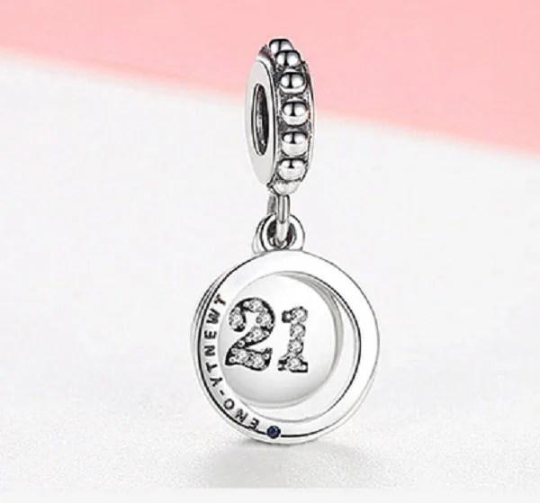 21st Birthday Celebration Genuine Sterling Silver 925 With Cubic Zirconia Charm Fits Pandora Bracelets