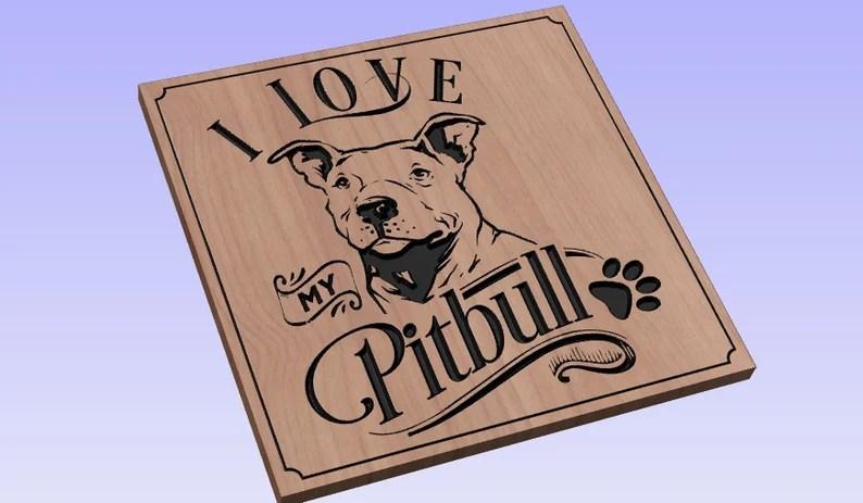 Download I Love My Pitbull crv3d crv dxf ai svg eps pdf | Etsy