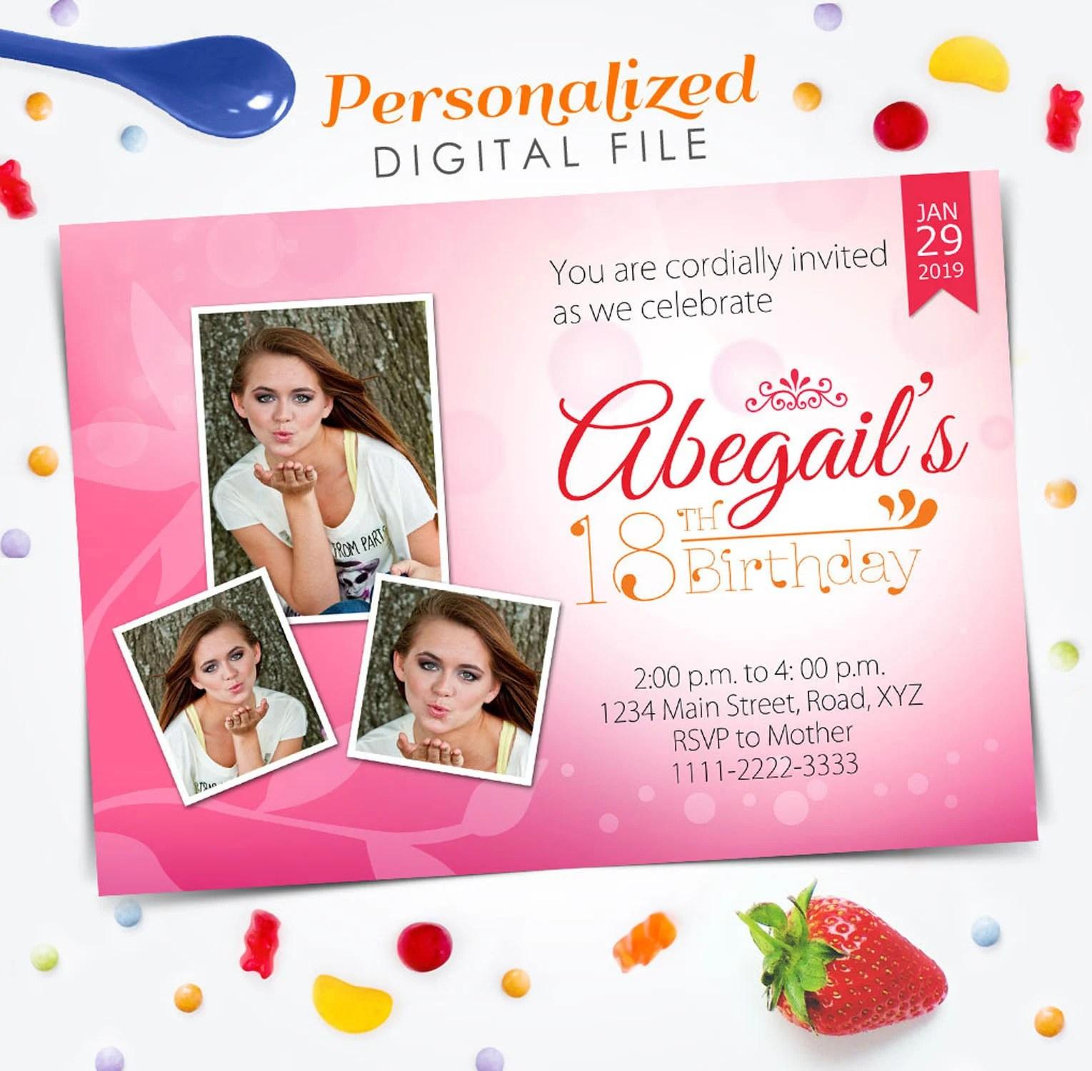 18th birthday invitation y debut invitation 18th birthday invite 5x7 digital file invite