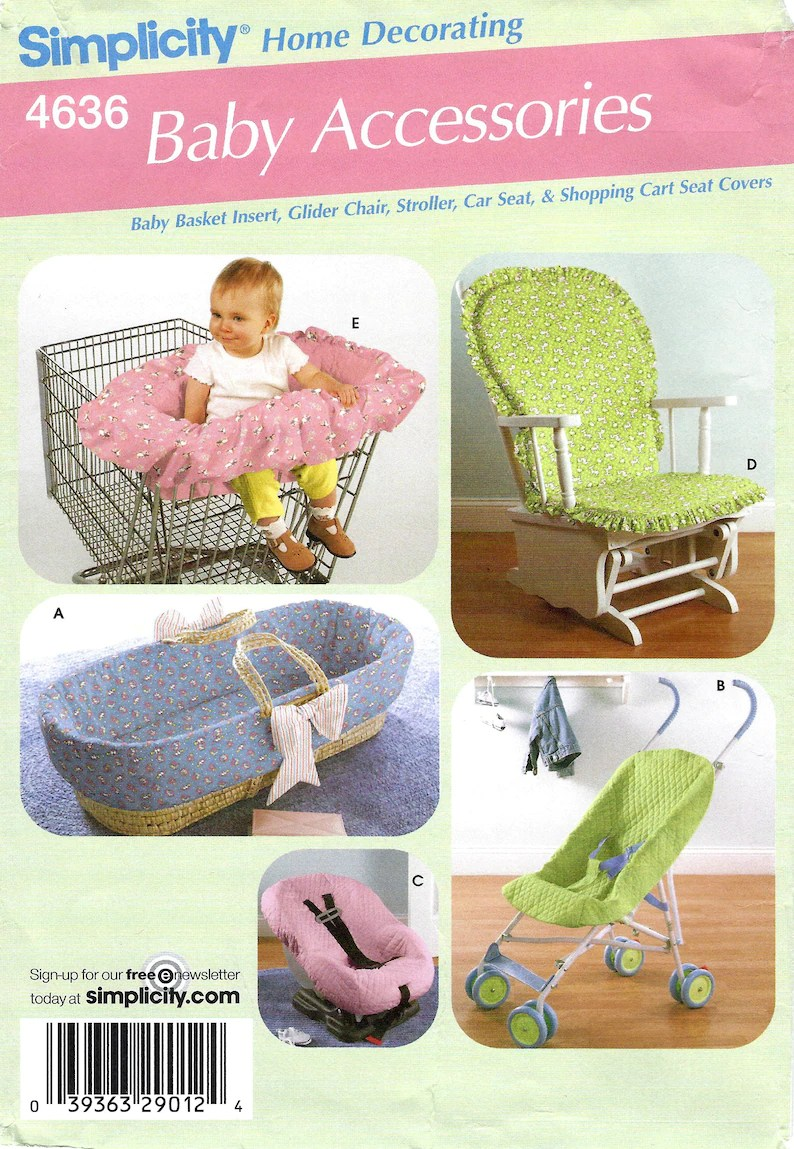 Simplicity Pattern 4636 Baby Accessories Baby Basket Glider Chair Car Seat And Shopping Cart Seat Covers Sewing Pattern Uncut