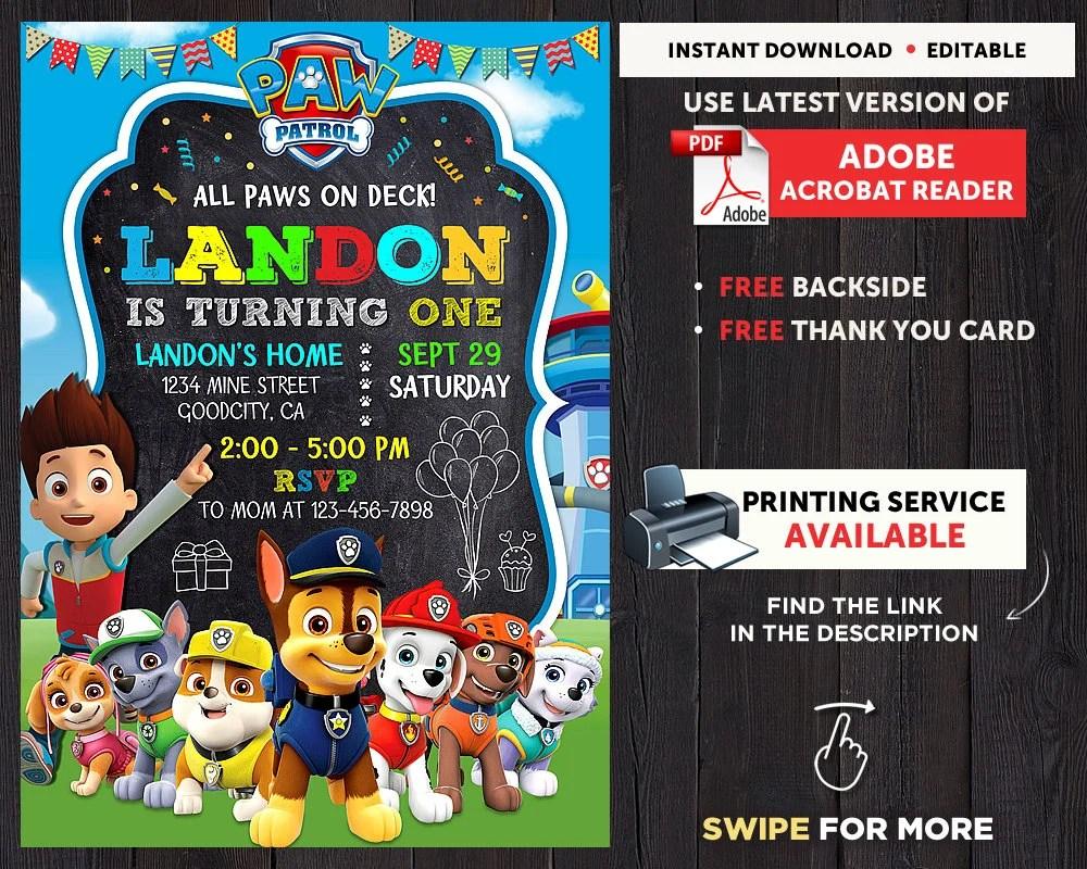 Paw Patrol Birthday Party Paw Patrol Birthday Invitation Personalized Dogs Invite Boy Birthday Invitation Editalbe Instant Download Digital