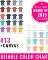 Bella Canvas 3413 Color Chart Mockup Editable Bella Canvas Etsy