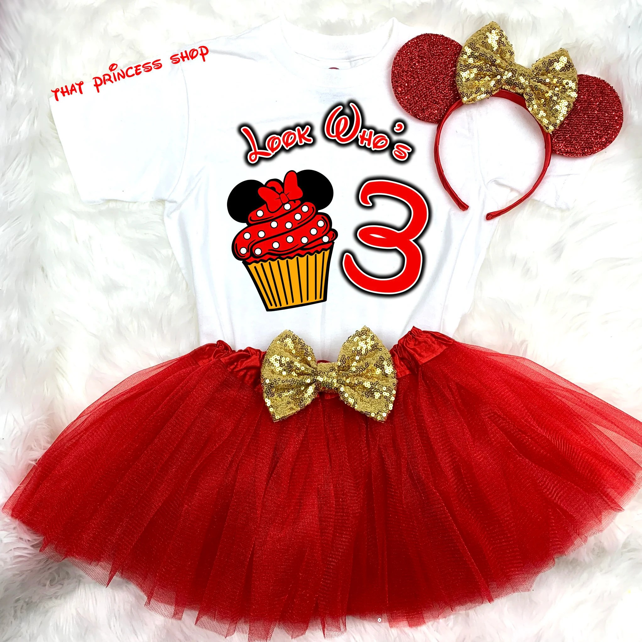 Minnie Mouse Birthday Tutu Outfit 3rd Third Birthday Dress Free Ears Clothing Dresses