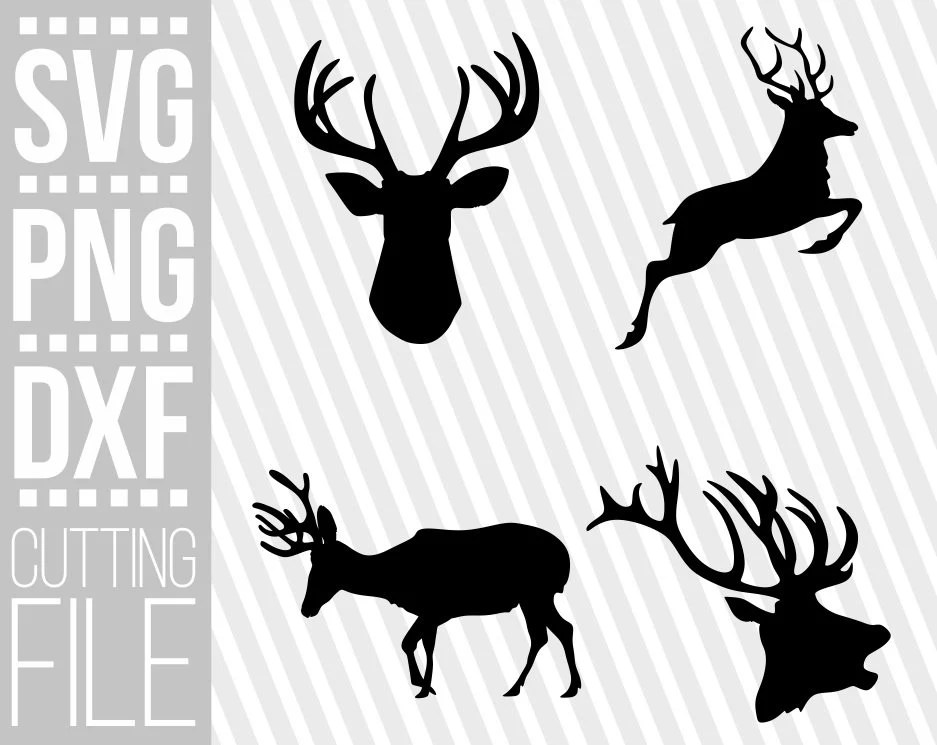 Download 4x Deer Head Bundle svg, Antlers svg, Reindeer svg, Winter ...