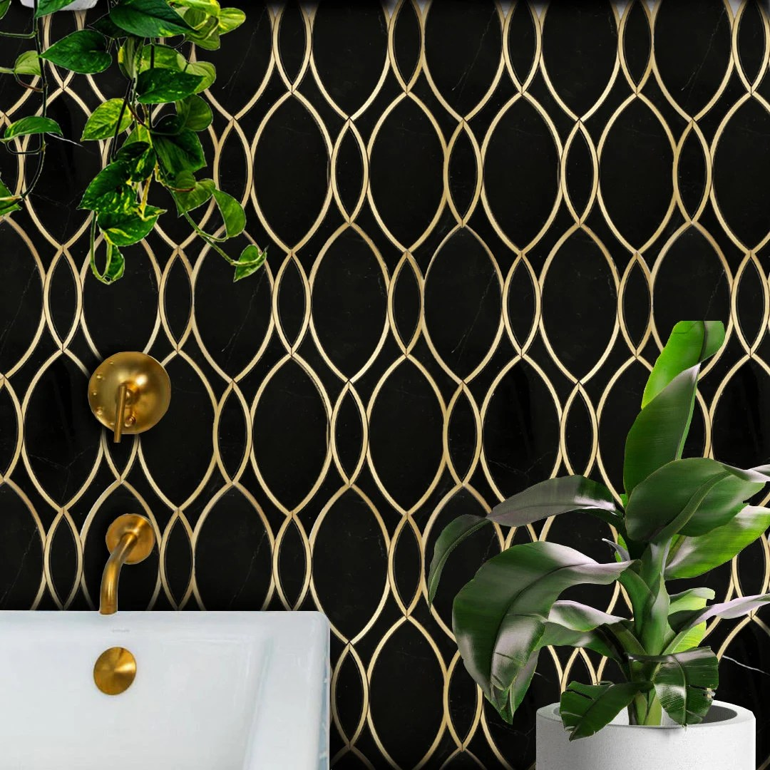 marble tile with brass inlay