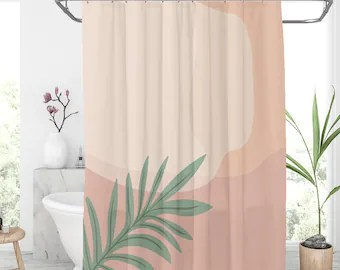 plant shower curtain etsy