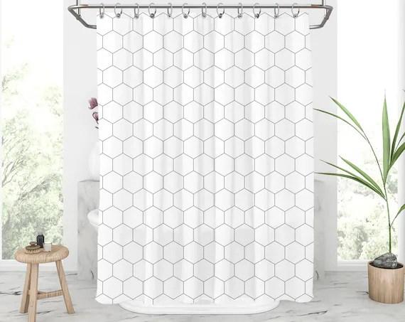 hexagon shower curtain black and white shower curtains minimalist bath curtain geo shower curtain set with hooks modern bathroom decor 262