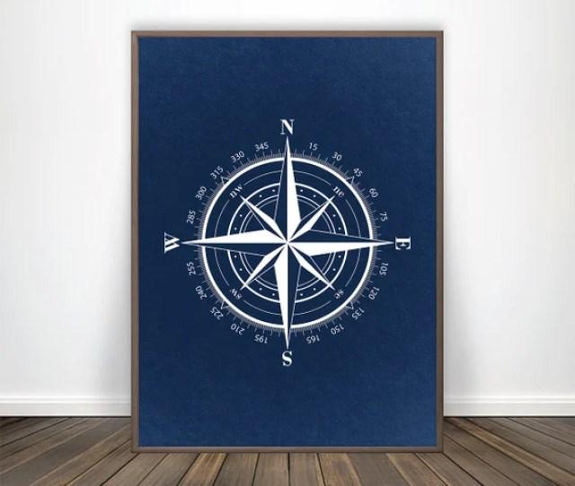 Compass Print Art Nautical Decor Navy Blue Wall Art Compass Etsy