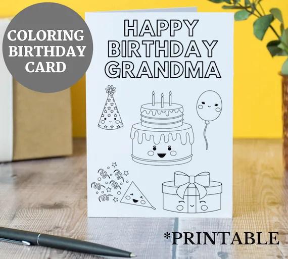 Printable Birthday Card For Grandma From Kids Birthday Card Etsy