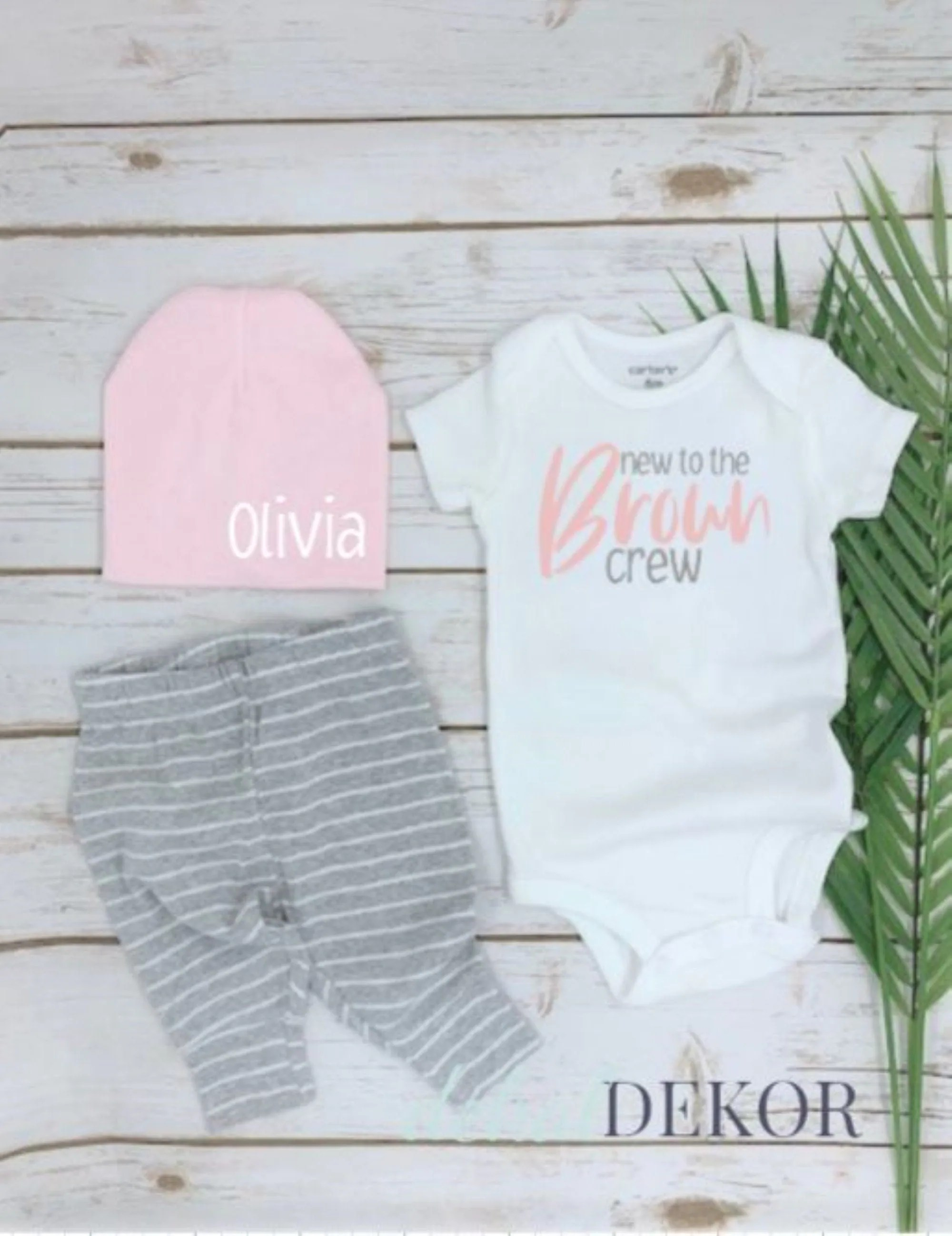 Custom Coming Home Hospital Outfit | New to the Crew | Custom Name/ Last outfit | Baby Shower Gift | Baby girl Personalized gift | pink hat                                                                DekalDekor         From shop DekalDekor                               5 out of 5 stars                                                                                                                                                                                                                                                          (44)                 44 reviews                                                                                   Sale Price CA$13.46                                                                   CA$13.46                                                                             CA$26.92                                                              Original Price CA$26.92                                                                                               (50% off)                                                                                                                                FREE delivery