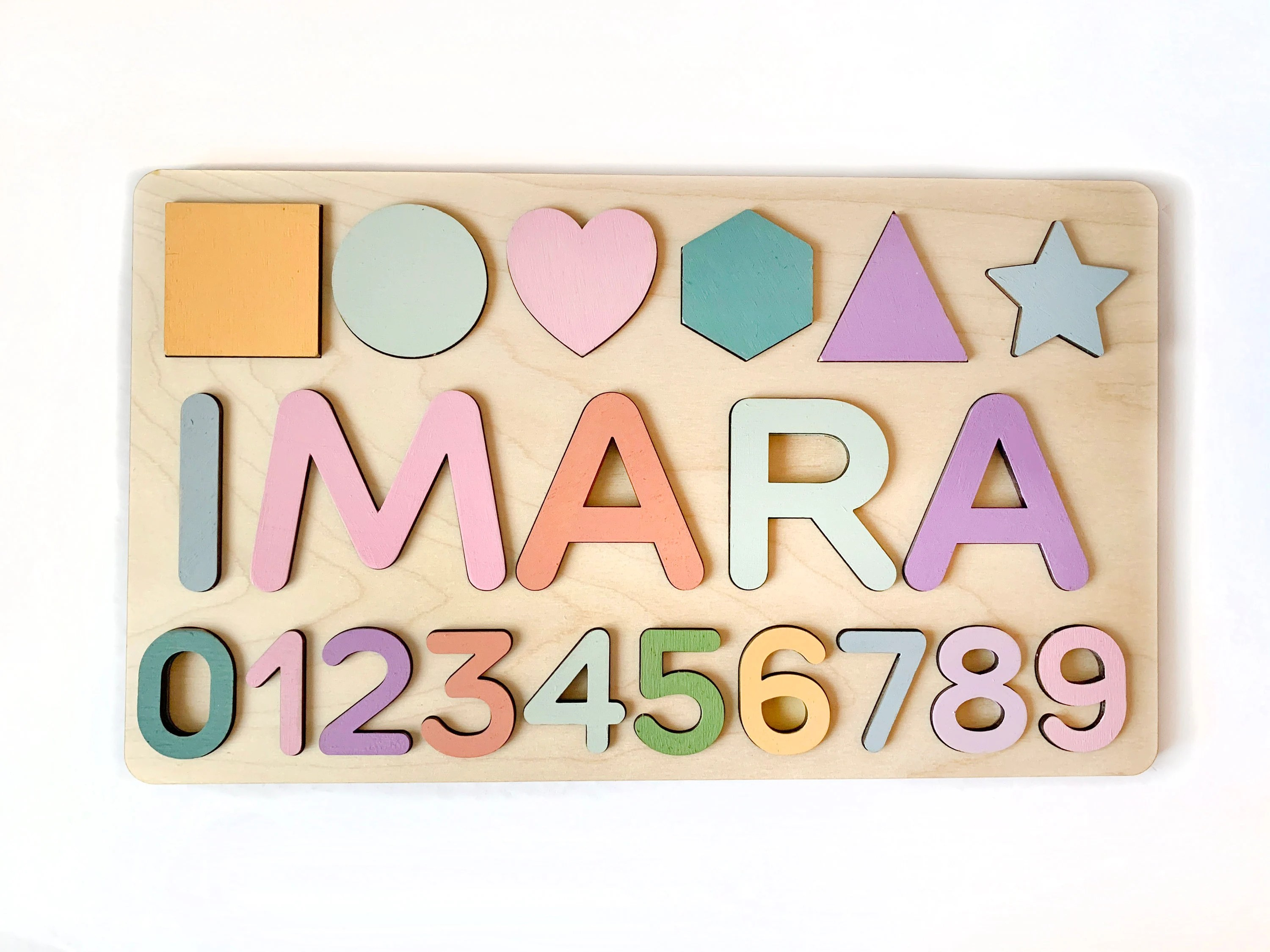 More colours                                                                                Large Custom wooden Name Puzzle with basic shapes and numbers for toddlers boys and girls, colored background star, triangle, heart                                                                THECRAFTPEG         From shop THECRAFTPEG                               5 out of 5 stars                                                                                                                                                                                                                                                          (31)                 31 reviews                                                                                   Sale Price CA$71.60                                                                   CA$71.60                                                                             CA$89.50                                                              Original Price CA$89.50                                                                                               (20% off)                                                                                                                                FREE delivery