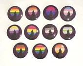 Pride Flag Wolf Howling at Moon Pin Button / LGBTQ+