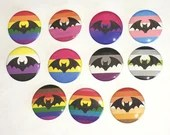 LGBT Pride Flag Bats Pin Button / LGBTQ+ / Halloween / Vampire Bats