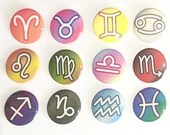 Western Zodiac Star Signs Pin Buttons